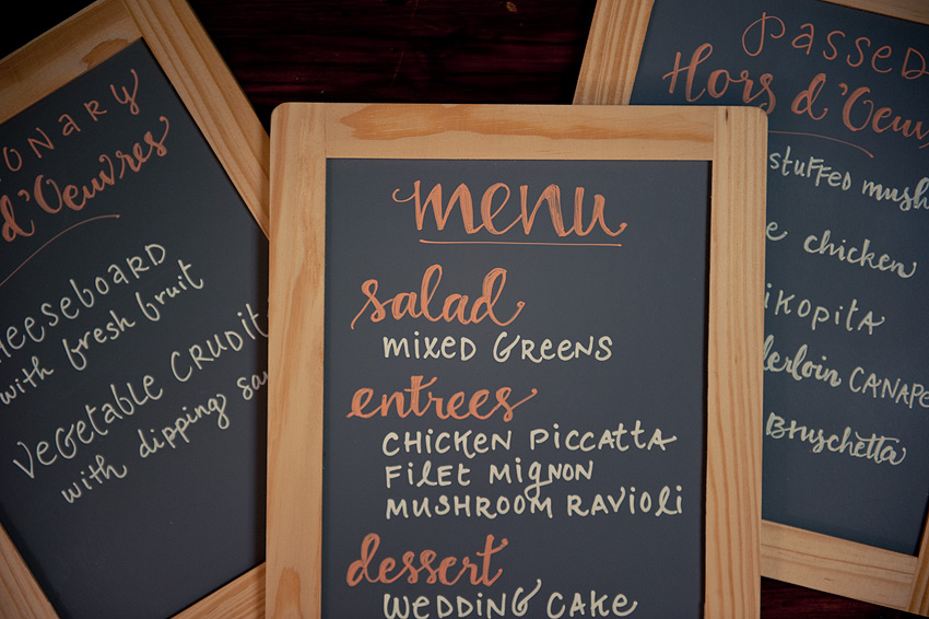 Hors d'oeuvres and main menu