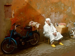 Colors of Marrakesh (Andrew Clarey) Tags: old man yellow vibrant motorbike morocco berber shows marrakesh rendering flickraward