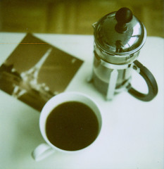 a little french in the morning (the cheshire smile) Tags: polaroid frenchpress slr680 bodum edgecutfilm