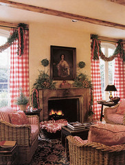 keeping room-Carol Glasser-magazine scan (kizilod2) Tags: christmas red design topiary interior livingroom decorating decor swag keepingroom mantle mantel firepace carolglasser