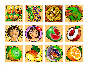 free Big Kahuna Snakes and Ladders slot game symbols