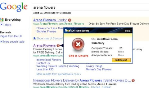 Arena Flowers SERPS warning