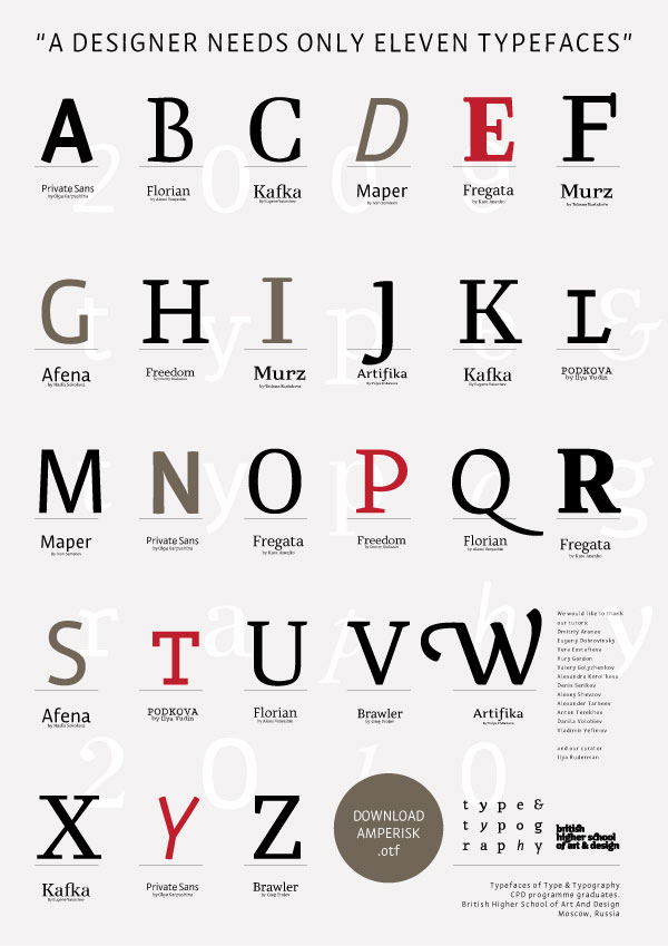 Amperisk  a typeface from T&T graduates