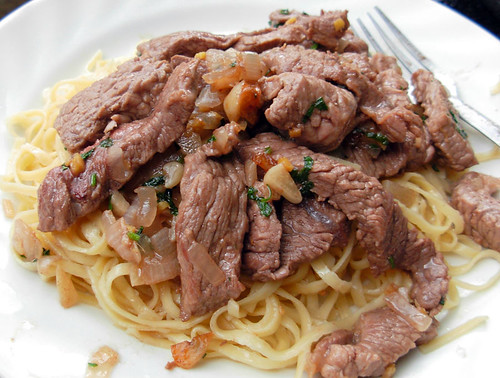 Garlic Ginger Beef on Noodles