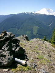 Little Ranger summit cairn, Rainier behind