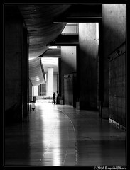 G.D.G. lights & shadows... (baycibi) Tags: bw paris wall lights monocromo shadows persons bianconero whiteblack cdgairport geometries canons90
