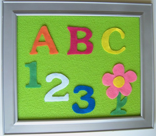 Framed Felt/Flannel Board with ABCs and Numbers