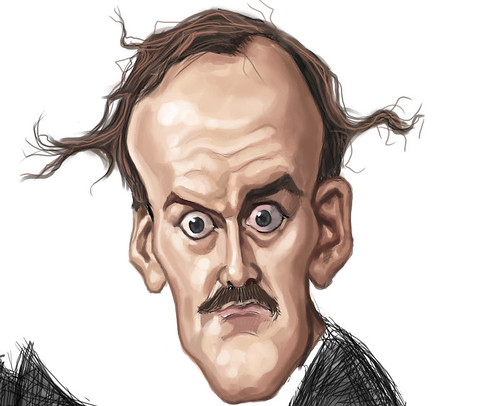 digital caricature of John Cleese - 3 colour small