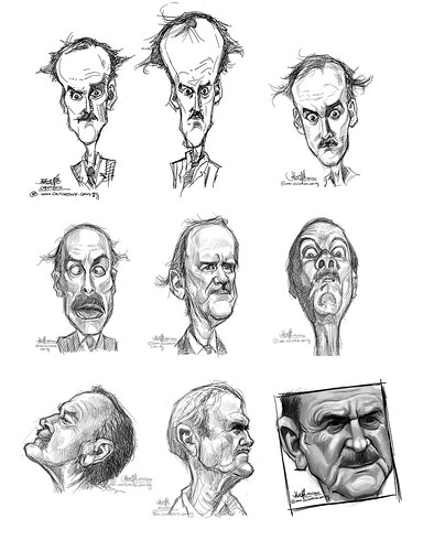digital sketch studies of John Cleese