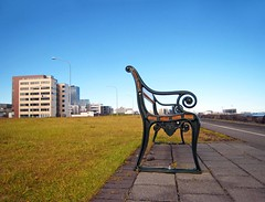 A bench to rest on (Rosmarie Wirz) Tags: bench bay iceland reykjavik rest travelpictures travelpicture arcticblue sundaymorningwalk vanagram updatecollection ucreleased
