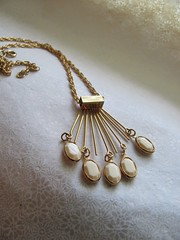 Vintage gold and ivory chandelier pendant necklace (MySoCalledVintage) Tags: white fashion vintage gold necklace beads mod ivory style jewelry trends chandelier sunburst accessories pendant starburst midcentury madmen