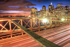 American Greatest  bridge and buildings (Tony Shi Photos) Tags: new york city nyc bridge urban ny skyline brooklyn night lights photo long exposure downtown br traffic photos manhattan district lower financial hdr nuevayork       nikond700   tonyshi