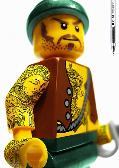 Lego figures with tattoos marketing
