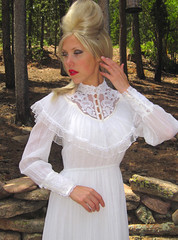 Gunne Sax Victorian Style Ivory Lace Ruffle Gown Close Up Front (mondas66) Tags: ruffles dress lace victorian cotton dresses romantic polyester gown elegant gowns ornate lacy voile frilly elegance ruffle gunnesax frills frill ruffled lacework frilled frilling frillings befrilled