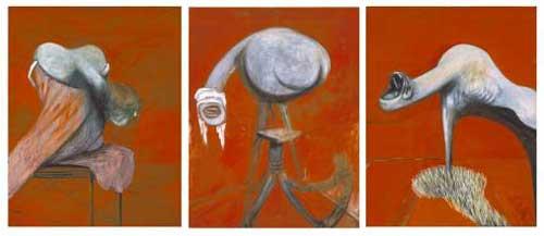 Tres estudios para figuras en la base de una crucifixión, 1944. Francis Bacon