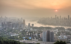 Chongqing from Yi Ke Shu Observation (Sarmu) Tags: china city sunset wallpaper urban sun building fog skyline architecture skyscraper river observation highresolution downtown day cityscape view skyscrapers widescreen 1600 highdefinition resolution 1200 cbd hd yangtze yangtzeriver wallpapers  chongqing hdr 1920 vantage 2010  observationdeck vantagepoint ws 1080 nanshan 1050 720p 1080p urbanity 1680 720 2560  sarmu  yikeshu yikeshuobservation