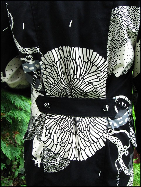 coat of amazingness; handmade, sewn, sewing, original,coat, handsewn, black, white, ikea fabric