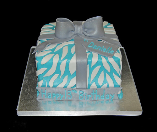 Blue and White Zebra Print Present Birthday Cake