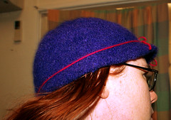 Felted Cloche Hat (Wallflower Arts) Tags: wool hat knitting purple felting cloche rockbank