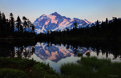 Mount Shuksan Reflects in Picture Lake in Mt. Baker-Snoqualmie National Forest, Washington, USA (PhotoDG) Tags: sunset usa lake color water landscape washington baker picture glacier aug cascade mountbaker mtbaker shuksan mtshuksan whatcom mountshuksan picturelake mtbakersnoqualmienationalforest