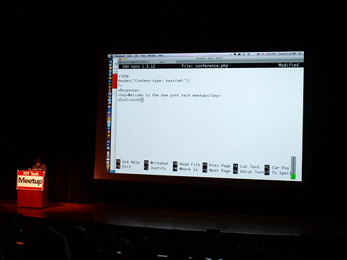 John Coding in Nano on a 30 foot screen