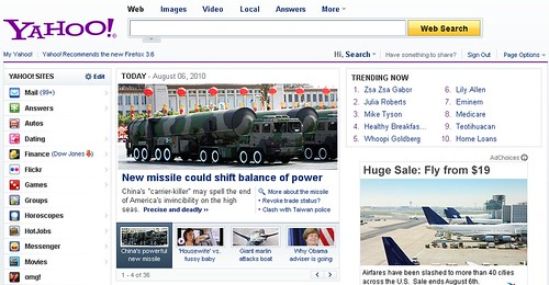 Yahoo! home page with Trending Now module