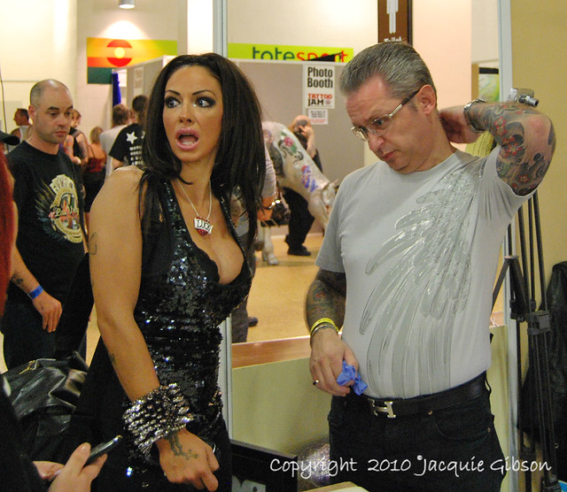 Minor celebrity Jodie Marsh chats to Lou Molloy (tattooist who has done