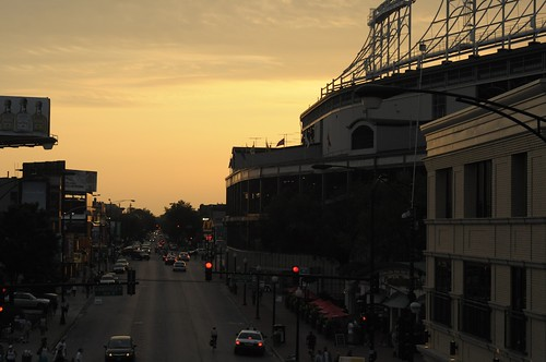 Wrigley Field at sunset
