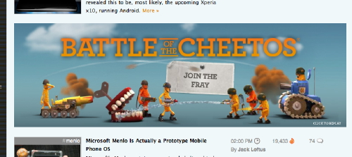screen capture of Battle of the Cheetos by woot, on flickr