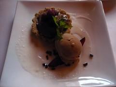 Hazelnut Tartlette - Mocha cream Filling, fresh raspberries, fig-coffee gelato, vanilla bean creme anglaise