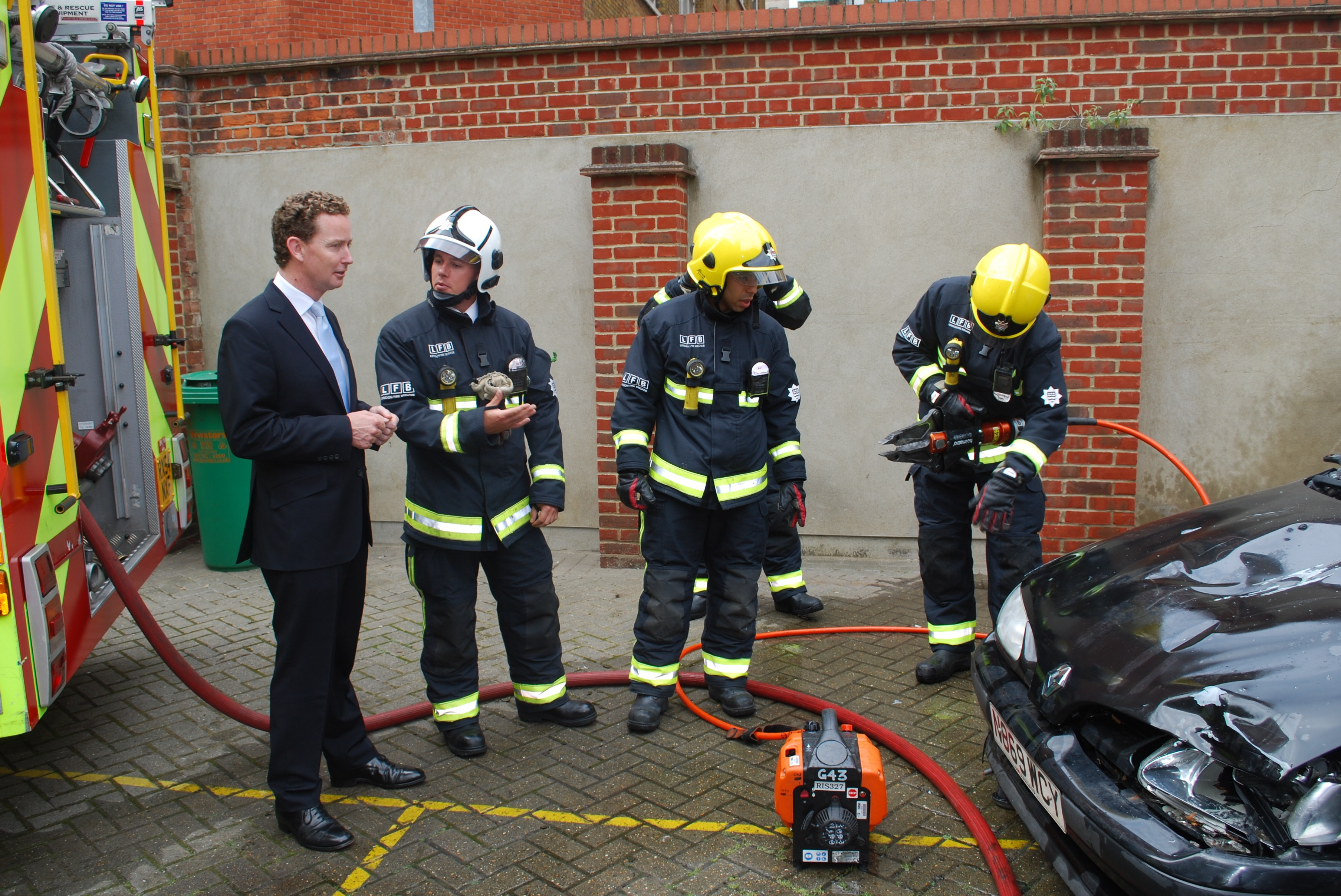 GB Energy Minister Greg Barker and Westminster Fire Station