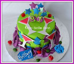 21st Birthday Cake (Kara's Custom Cakes) Tags: pink blue green cake diamonds cherry stars purple 21 fabric olives martiniglass 21stbirthday nametags fondant ribbonroses diamondpattern 21stbirthdaycake fondantcherries gumpastemartiniglass fondantolives