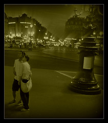 885 Paris (Nebojsa Mladjenovic) Tags: street light sky urban mist paris france art monochrome sepia night digital dark french outdoors lumix frankreich panasonic ciel frankrijk rue francia francais fz50 svetlost mladjenovic