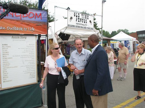 USDA Rural Development State Director for Maine Virginia Manuel and Farm Services Agency State Director Donovan Todd (center) give Ambassador Ron Kirk a tour of the Bangor State Fair.