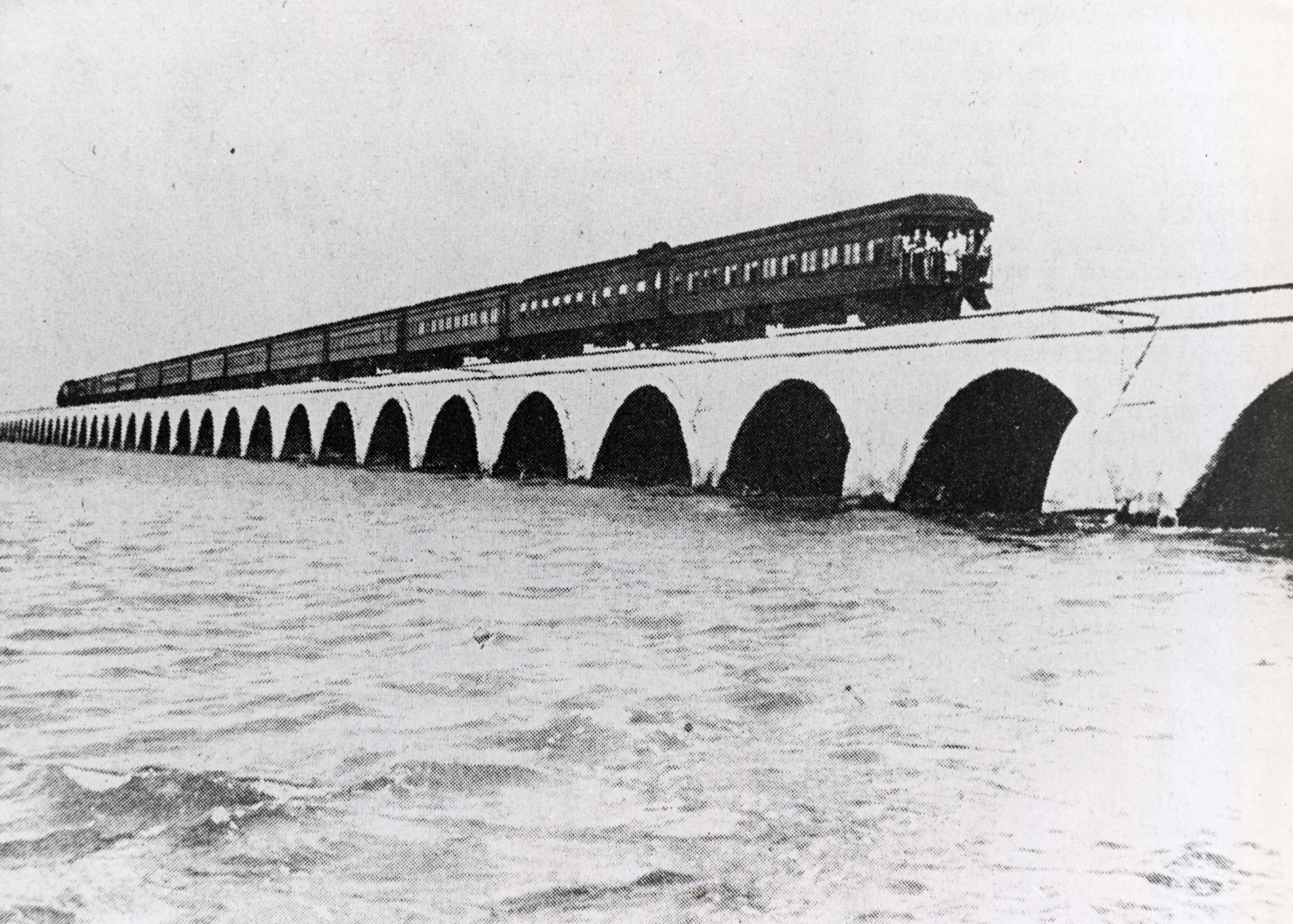 Florida East Coast Railway, Key West Extension. Train on Seven Mile Bridge heading to Key West. Photo from the Monroe County Library Collection.