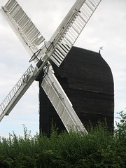 Outwood windmill (Louise and Colin) Tags: old uk england cloud black english heritage history windmill village view britain 17thcentury cottage sails meadow culture eu surrey hedge british common nationaltrust clapboard weatherboard knapweed greatfireoflondon postmill commonland outwood outwoodcommon