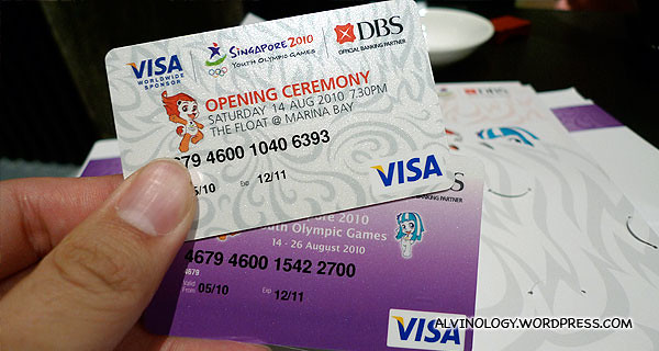 YOG ticket which is also a DBS stored value VISA card