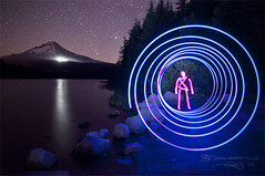Trillium Time Tunnel (Gary Randall) Tags: lake lightpainting night oregon mthood timetunnel mounthood trilliumlake garyrandall dsc31322