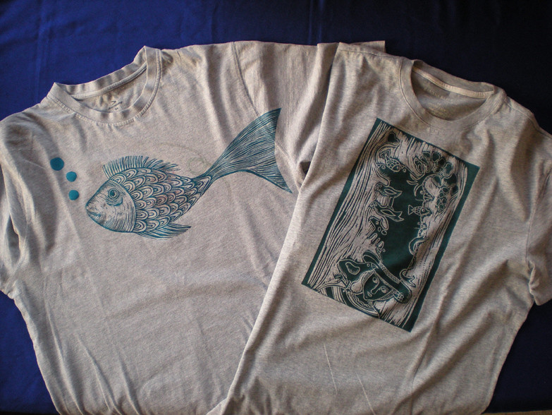 T-shirts printed with lino