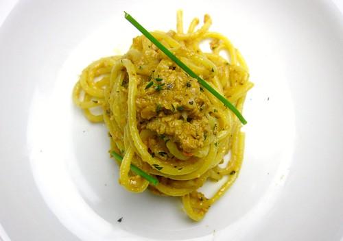 Spaghetti alla chitarra with monkfish liver sauce
