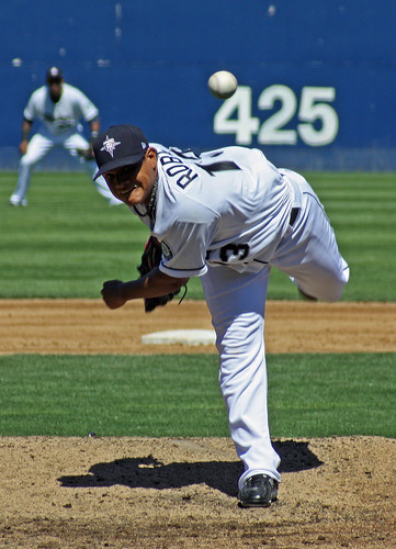 Robles throws a pitch