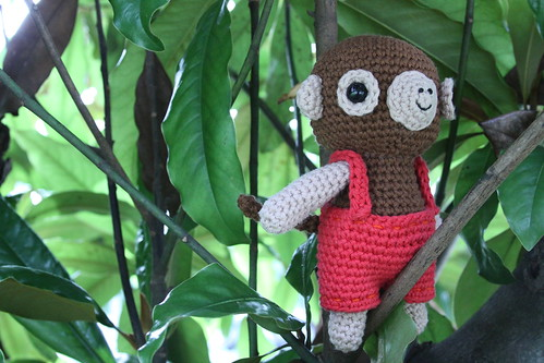 puppies and monkeys. I finally finished a monkey I have been working on for awhile (pattern is