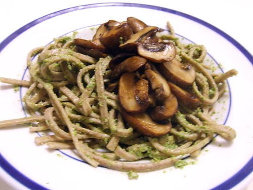 Mustard Green Pesto with Whole Wheat Linguine & Sauteed Mushrooms