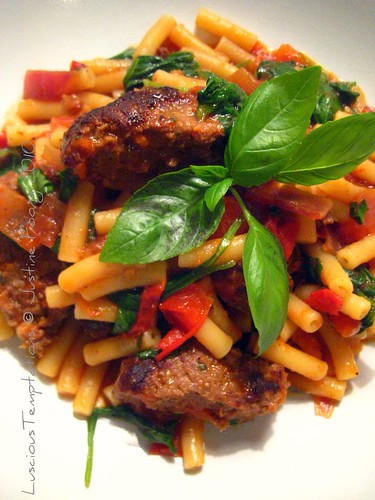 Macaroni in Tomato sauce with Spinach and Meat Patties - Weeknight Dinner