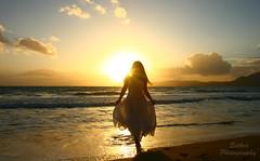 Into the light (esther**) Tags: light sunset shadow sea portrait sky woman sun sunlight reflection beach silhouette yellow lady clouds hair golden dress walk greece shore rhodes