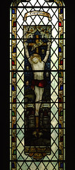 Hathersage, Derbyshire, St. Michael and All Angels, east window, detail (groenling) Tags: uk window glass cross derwent derbyshire jesus crucifixion dales hathersage kempe