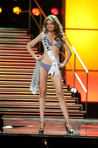 Miss Ukraine 2010 Anna Poslavska poses in her swimsuit