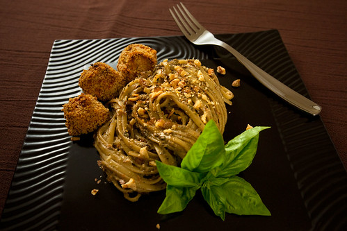 Zucchini Pesto with Spiky Turkey Meatballs