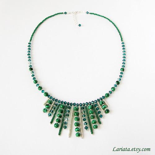 emerald and malachite green necklace with Swarovski