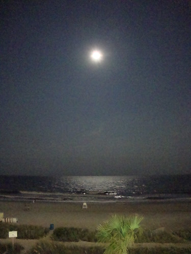full moon over the ocean tonight!